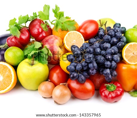 set of different fruits and vegetables isolated on white background - stock photo