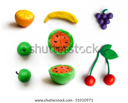 set of different fruits. isolated with path. - stock photo