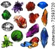 set of different gems and crystals - stock photo