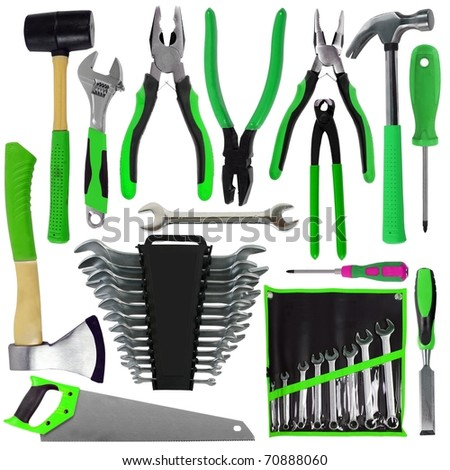 Set of Different Green Tools Isolated - stock photo