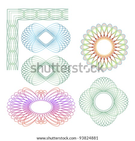 Set of different guilloche rosette on a white background. EPS version is available as ID 93024202. - stock photo