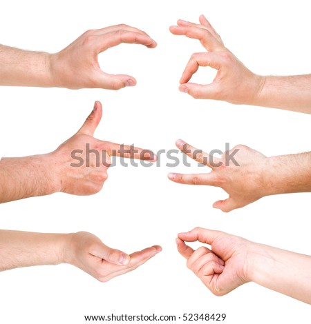 Set of different hand signs - stock photo