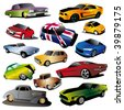 set of 13 different hi detailed  cars - stock photo