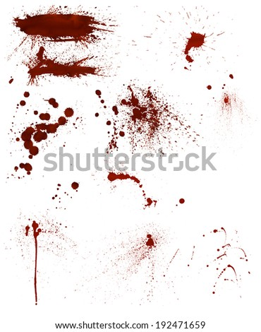 Set of 10 different highly detailed bloodstains - stock photo