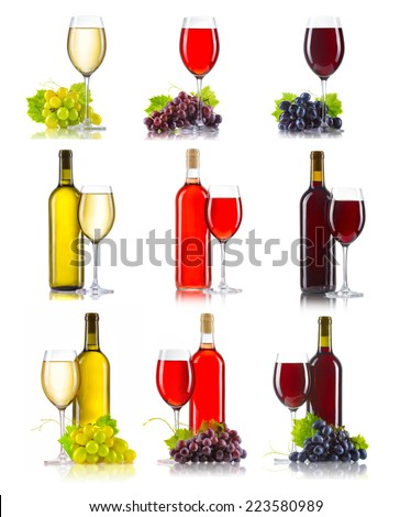 Set of different kinds of wine (red, rose, white) with grapes isolated on white - stock photo