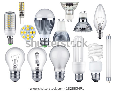 set of different light bulbs - stock photo