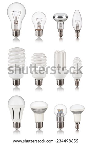 set of different light bulbs isolated on a white bakground - stock photo