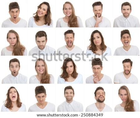set of different male and female faces, facial expressions - stock photo