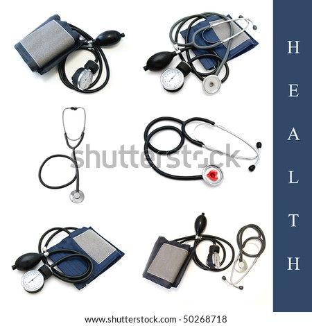 set of different medical tools images over white background - stock photo