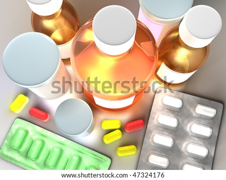 Set of different medicine in one place as complete treatment. - stock photo