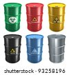 Set of different metal industrial barrels isolated on white background - stock photo