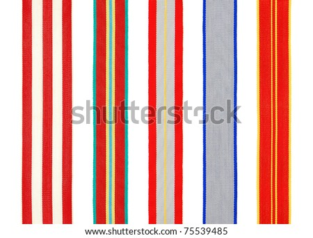 Set of 5 different military ribbons for medal isolated on white background - stock photo