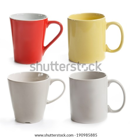 set of different mugs isolated on a white background - stock photo