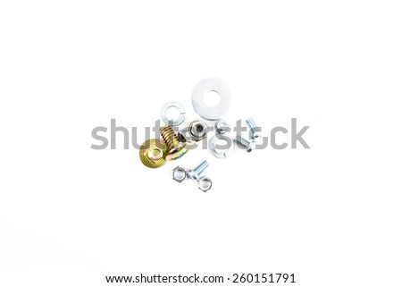 Set of different nails, screws, nuts, bolts, isolated on white background - stock photo