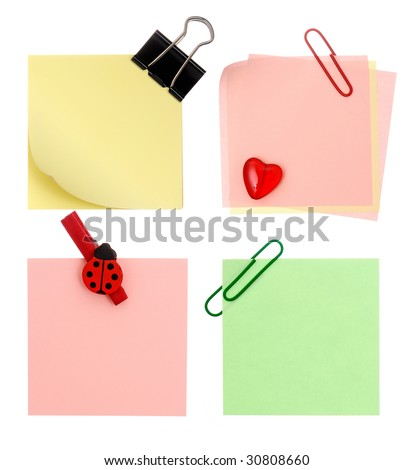 Set of different notes isolated on white background - stock photo