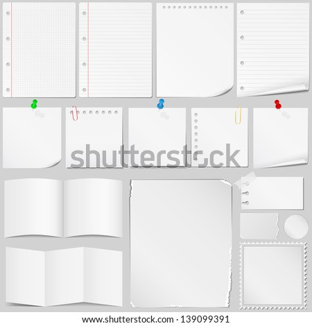 Set of different paper - stock photo