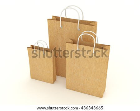 Set of different paper bags from craft paper carton. Group of several cardboard packaging for store purchases shopping. Mock up for branding design and advertising. 3d illustration