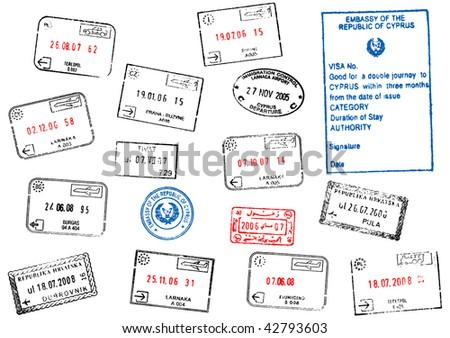 set of different passport visa stamps illustration - stock photo