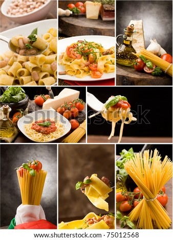 Set of different pasta photos arranged together into a collage