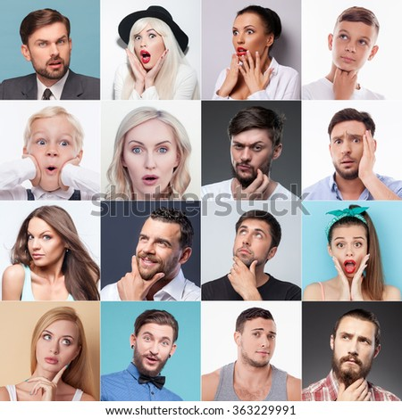 Set of different people evincing various emotions - stock photo