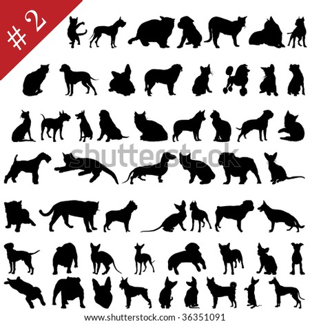 Set # 2 of different pets silhouettes. Also in my portfolio you can find vector version of this picture.