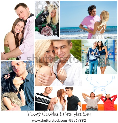 Set of different photo. Different couples in different places and seasons. - stock photo