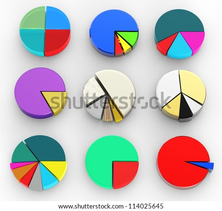 set of different pie chart on isolated background - stock photo