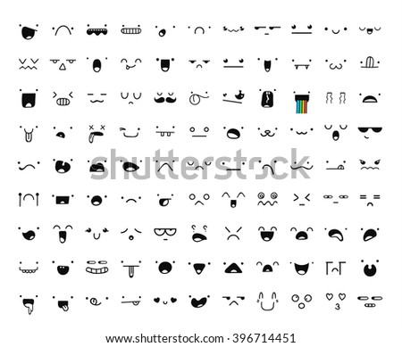 Set of 99 different pieces doddle emotions to create characters.Emoji  for Web.  Anger and compassion. Laughter, tears. Smile sadness surprise. Happiness  fear.