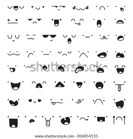 Set of 52 different pieces of doddle emotions to create characters. Emotions for design. Anime. Anger and joy. Surprised and hurt. Indifference and shock. Laughter and tears. Emotions handmade - stock photo