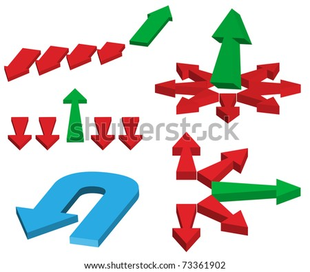 Set of Different Red And Green Arrows - stock photo