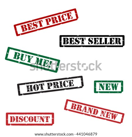 Set of different red, green and black grunge rubber stamps. Hot price, brand new, discount, new, buy me, best price and best seller. Stamp collection - stock photo