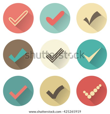 Set of different retro check marks or ticks. Confirmation acceptance positive passed voting agreement true or completion of tasks on a list. Retro colors. - stock photo
