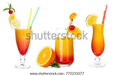 Set of different serving of popular cocktail Sex on the Beach on white background