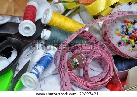 Set of different sewing accessories - stock photo