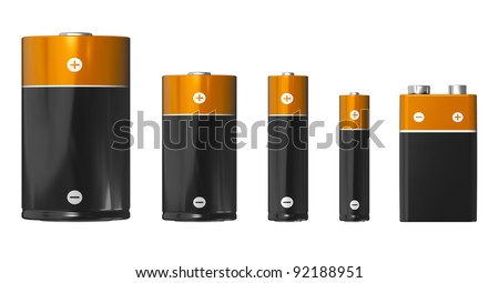Set of different sizes of batteries (from left to right): D, C, AA, AAA and PP3 (9V) isolated on white background - stock photo