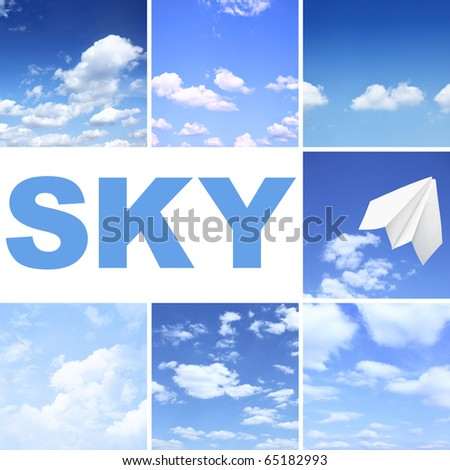 Set of different skies with clouds - stock photo