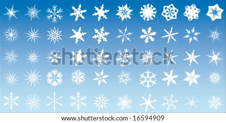 Set of 50 different snow flake designs. Also available as vector.