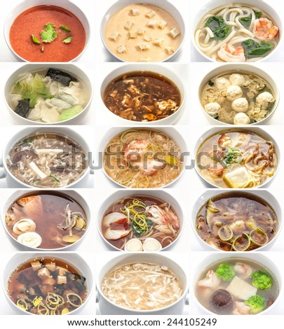 Set of different soups in white plates