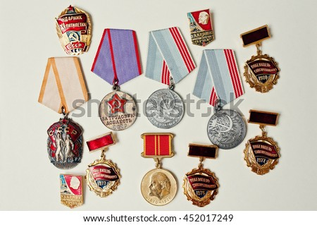 Set of different soviet medals on white background - stock photo