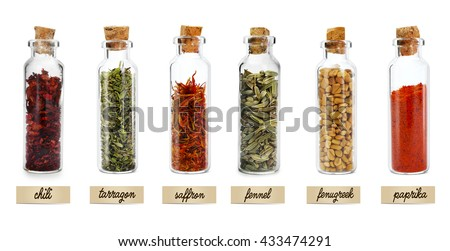 set of different spices in glass jars isolated on white - Spice Jars