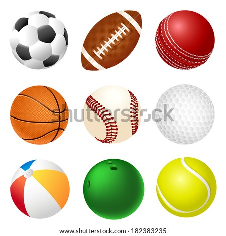 Set of different sport balls - stock photo