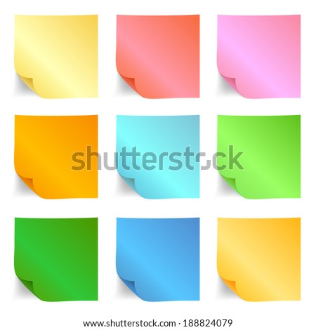 Set of different sticky note papers for you.