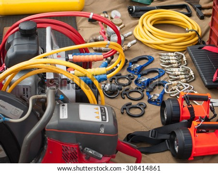 Set of different tools and instruments for rescue - stock photo