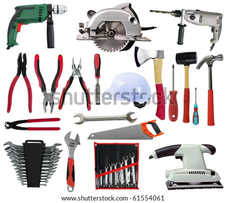 Set of Different Tools Isolated