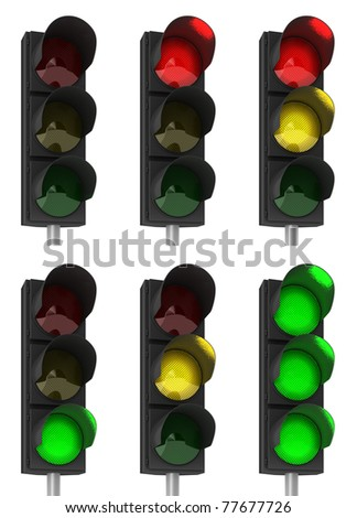 Set of different traffic light combinations over white