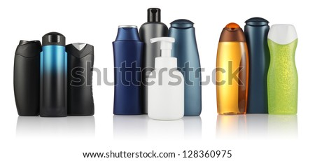 Set of different  tubes and bottles for hygiene, health and beauty on a white background with reflection isolated, for man and woman - stock photo