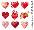 Set of different Valentines hearts - stock vector
