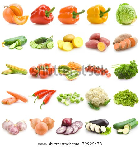 set of 25 different vegetables - stock photo
