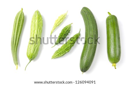 Set of different vegetables isolated on the white background - stock photo
