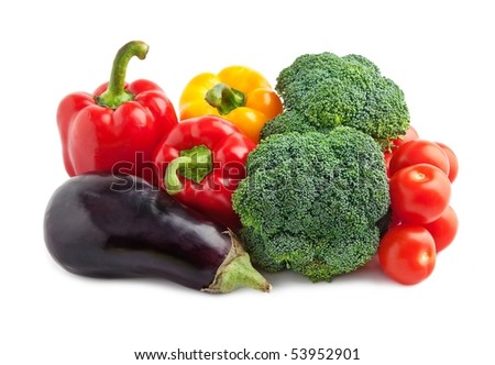 Set of different vegetables isolated on white . - stock photo
